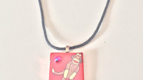 Square Sock Monkey Pendent Necklace