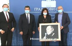 Izročitev slike Đorđe Balaševića županu