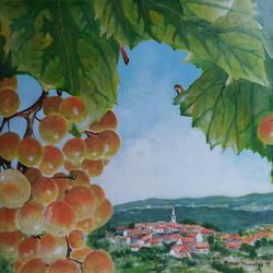 Slovenska Istra jeseni-akril