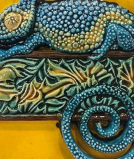Portuguese tile. Azulejos. Lizards Maria 3D#3