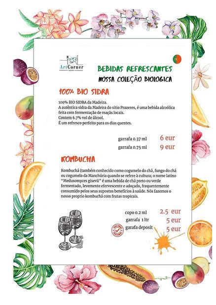 Menu de bebidas biológicas e vegetarianas Todos os dias no Art Food Corner Madeira
