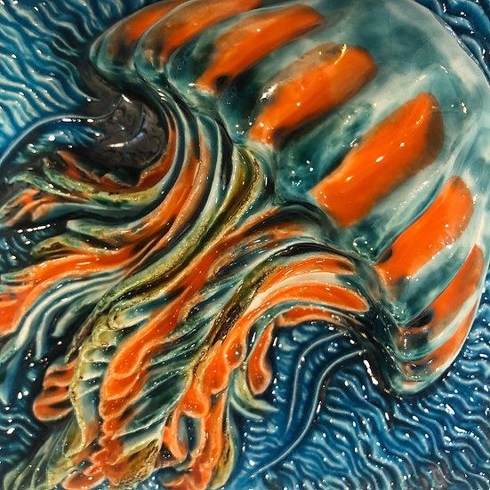 Portuguese tile. Azulejos. Jellyfish