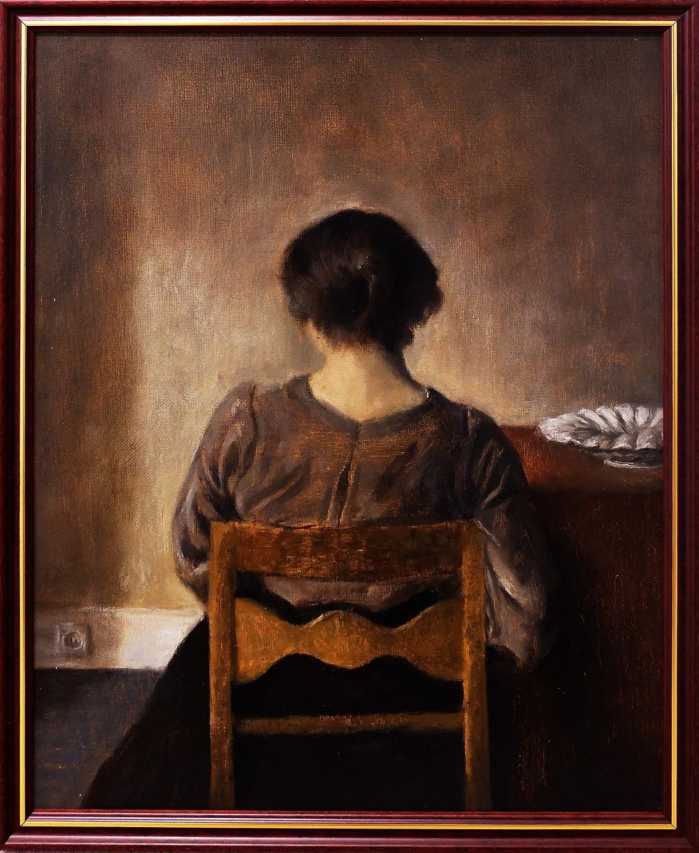 STIKKONTAKT I HVILE – SOCKET AT REST (AFTER VILHELM HAMMERSØI, 1905) OIL ON CANVAS BOARD 43.5x35.5cm  2020, framed  PRICE: 190€ +IVA