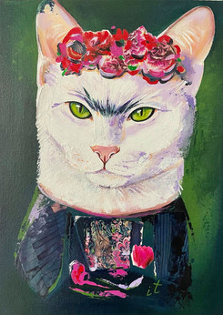 Frida Cats painting. New from Art Center Caravel