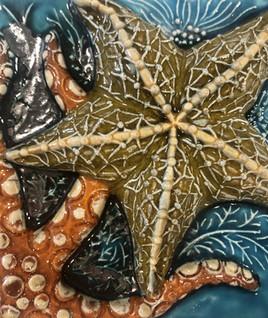 Portuguese tile. Azulejos. Starfish #1