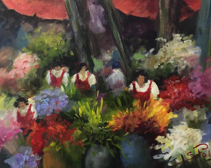 Poli Sonia.FLOWER LADIES IN FUNCHAL FARMERS MARKET