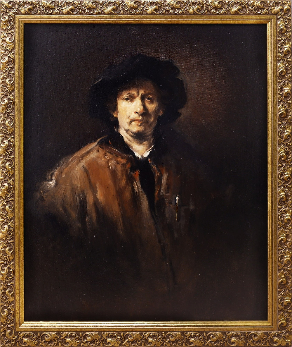 THY NAME WAS WRIT ON WATER (AFTER REMBRANDT,1652), oil on board  52x44cm , 2020