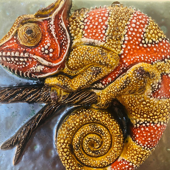 Portuguese tile. Azulejos. Lizards 3D