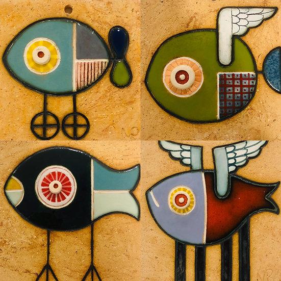 Portuguese tile. Azulejos. Fish
