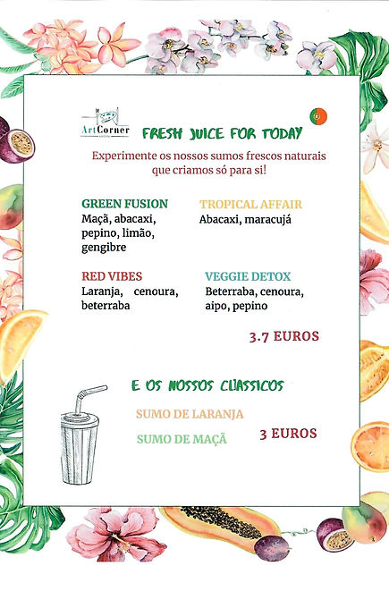 Lista de sumos naturais na zona velha do Funchal. Art Food Corner