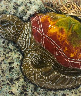 Portuguese tile. Azulejos. Turtle