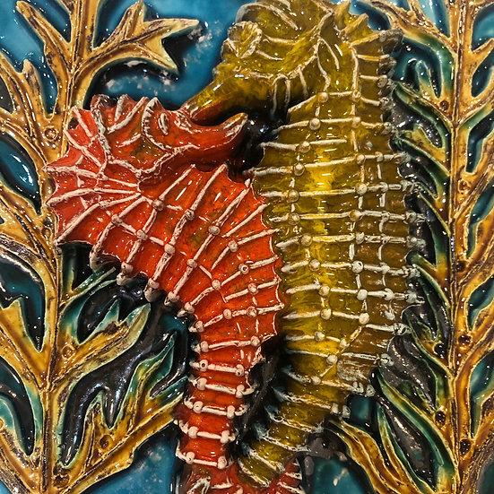 Portuguese tile. Azulejos. Seahorses.