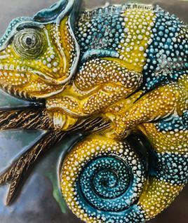 Portuguese tile. Azulejos. Lizards Maria 3D#2