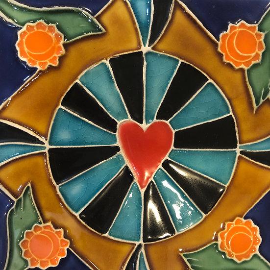 Portuguese tile. Azulejos.Heart.
