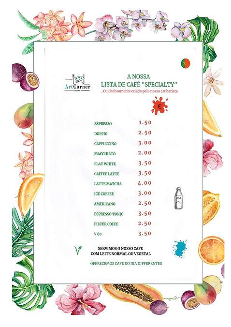 Menu do melhor café no Funchal.Art Food Corner Madeira