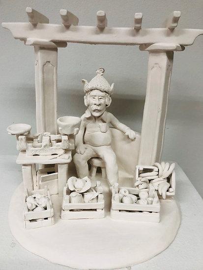 Ceramic sculpture. FARMER´S MARKET KING