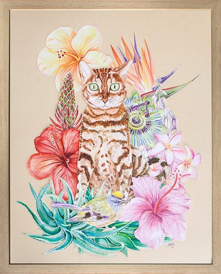 Marta Horodniczy. CAT AND FLOWERS