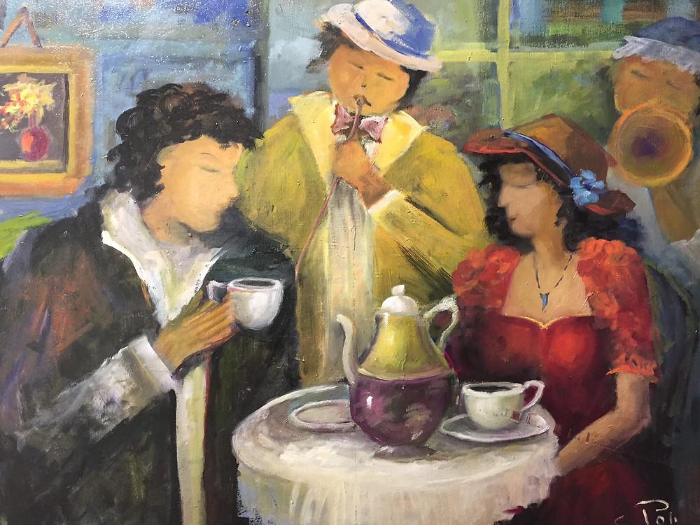 COFFEE DATE   Oil on canvas  Size: 60 Х 80 cm