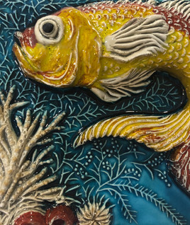 Portuguese tile. Azulejos. Goldfish.Maria