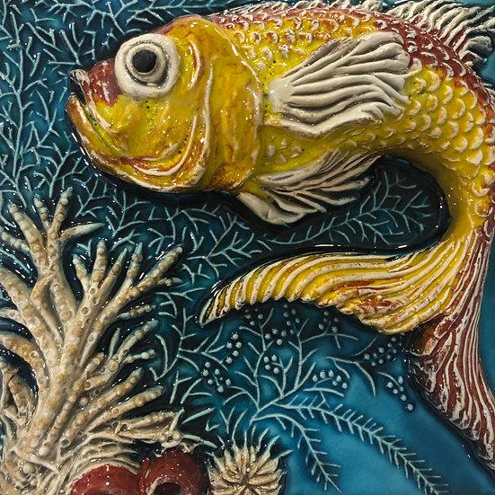 Portuguese tile. Azulejos. Goldfish.