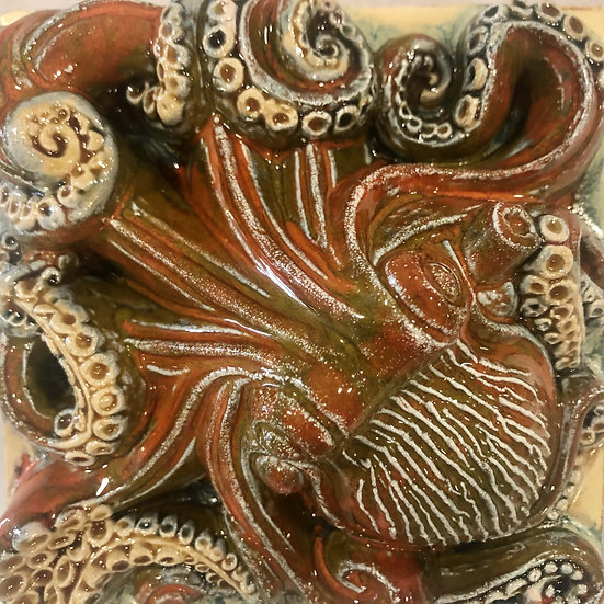 Portuguese tile. Azulejos. Оctopus