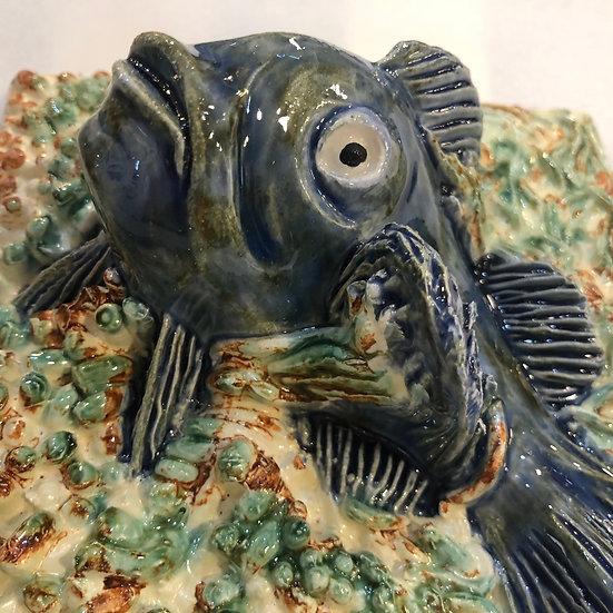 Portuguese tile. Azulejos.Catfish