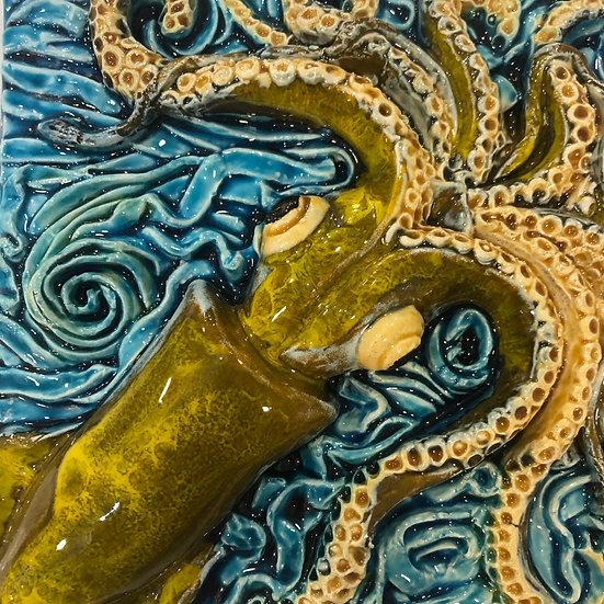 Portuguese tile. Azulejos. Squid.