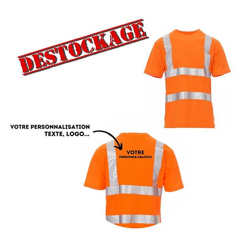 T-shirt à haute visibilité personnalisable orange L