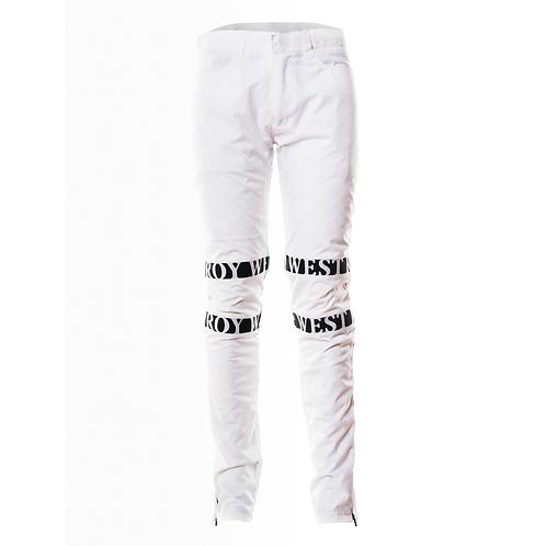 White Militant Pants