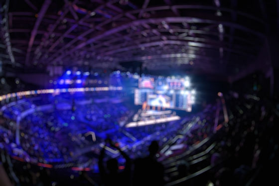 Blurred background of an esports event -