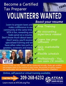 Home-based Volunteer tax preparers needed