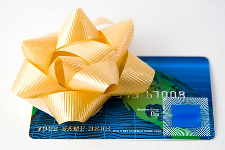 blue and green gift card with yellow bow