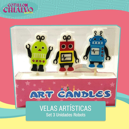 "Set de 3 Velas Artísticas ""Robot"""