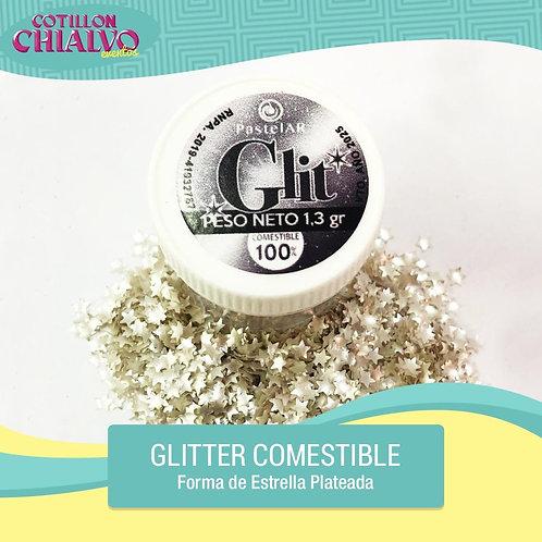 """Glitter Comestible """"Estrella Plateada"""""""
