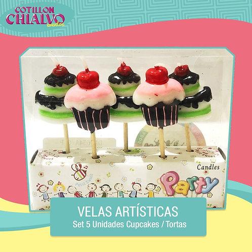 """Set de 5 Velas Artísticas de """"Cupcakes"""""""