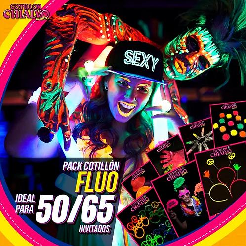 Pack de Cotillón Fluo Total Ideal para 50 o 65 Invitados