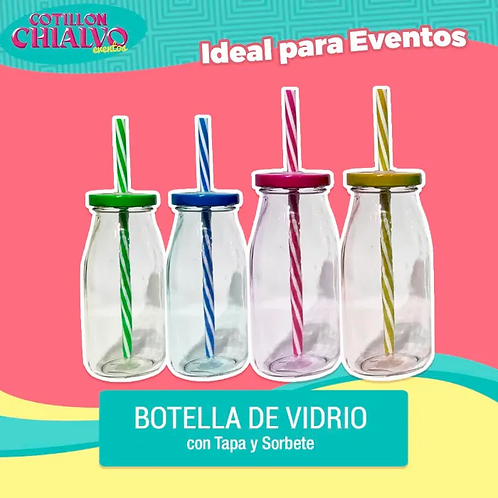 Botellas de Vidrio con Sorbete