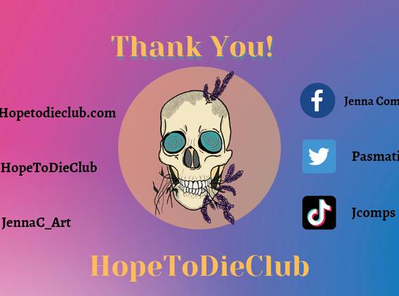 HopeToDieClub Digital Thank You Card.