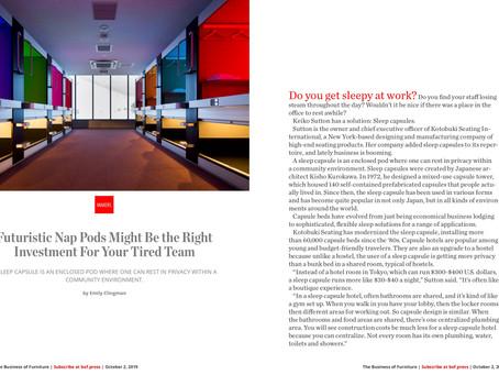 Kotobuki Sleep Capsule featured on Business of Furniture