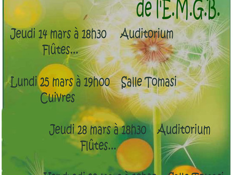 Les auditions de Printemps de l'EMGB