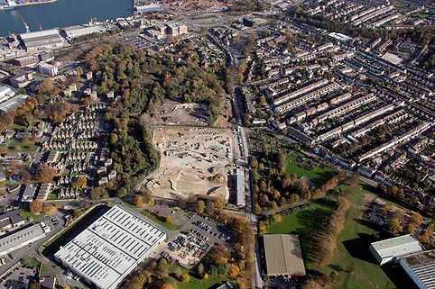 Mid Kent College: aerial view of the excavation