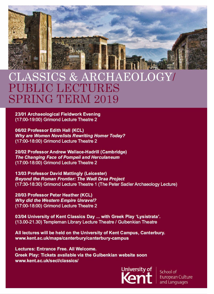 Classics & Archaeology public lectures, Spring term 2019