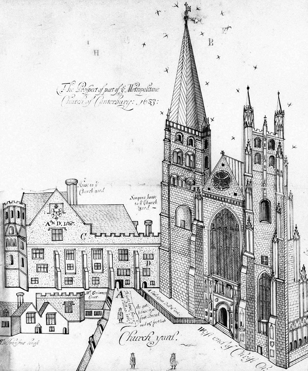 Archbishop's Palace in 1683 (Tanner MSS cxxiii, 22–24)