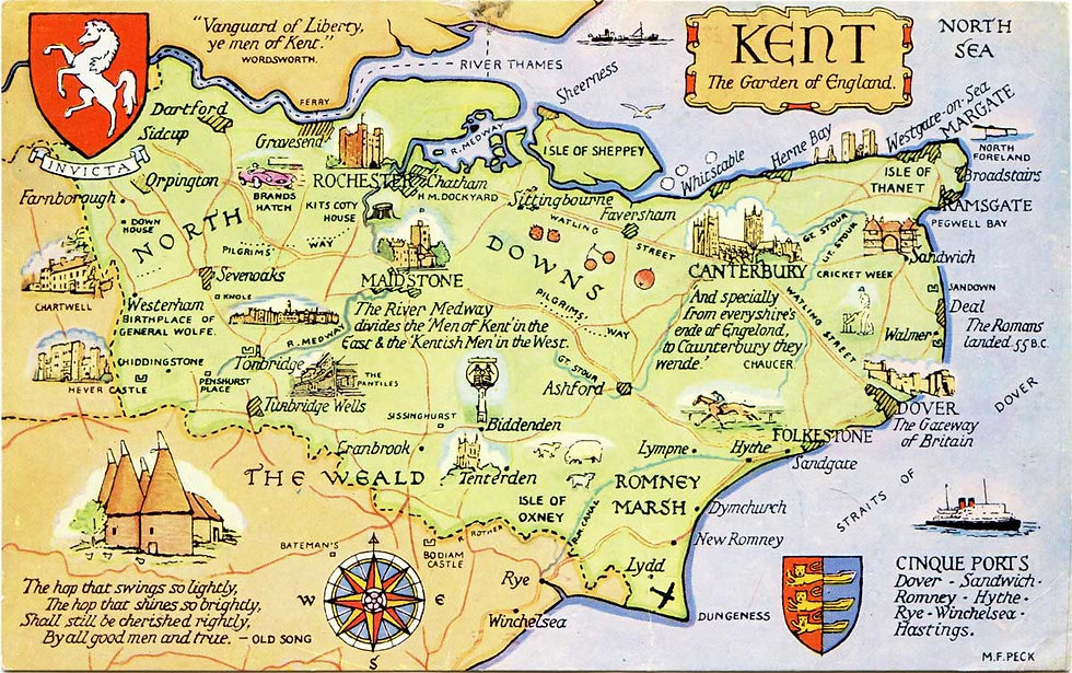 A 1970s postcard illustrating some aspects of the History of Kent