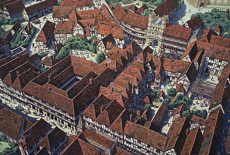 Artist's reconstruction of Tudor Canterbury