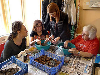 The Finds Supervisor with some of her volunteers