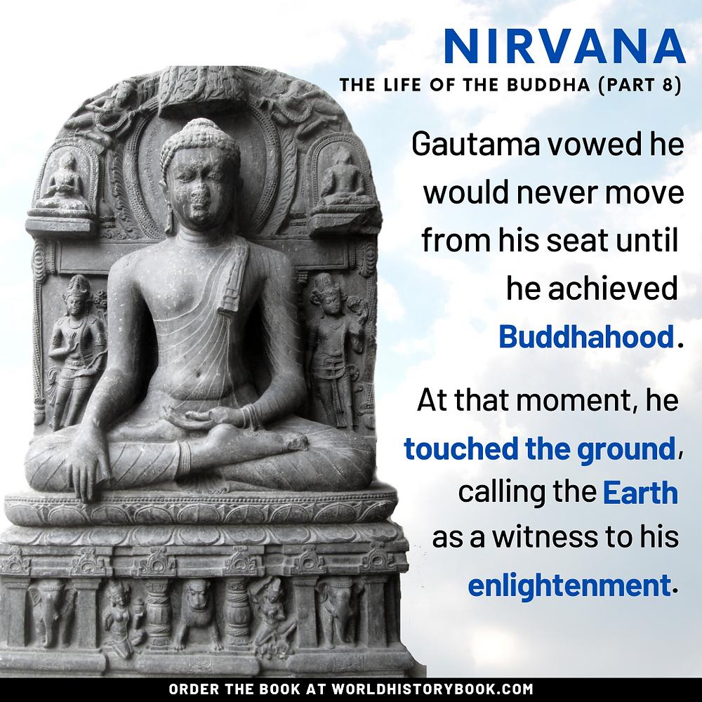 Buddha bodhi tree nirvana earth touching gesture