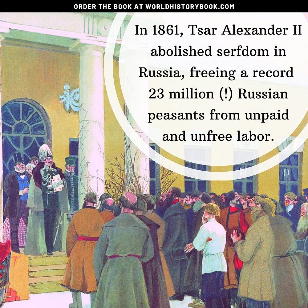 the great world history book stephan dinkgreve slavery abolition serfdom russia tsar alexander