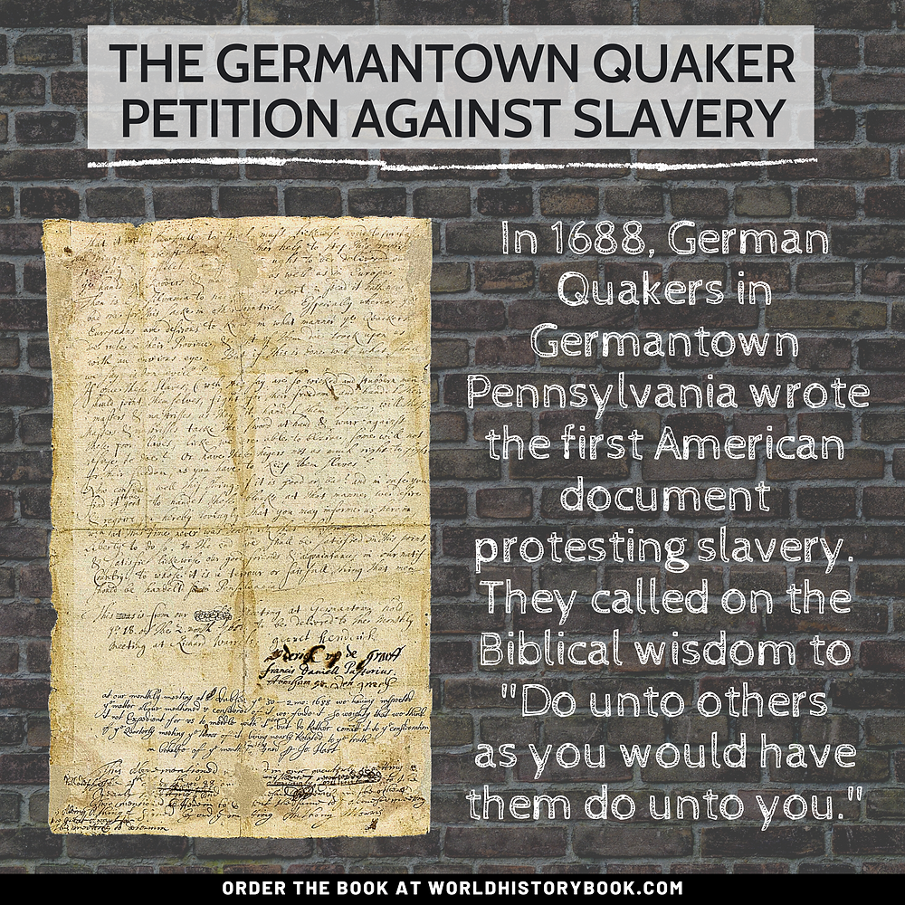 the great world history book stephan dinkgreve slavery slave trade abolition transatlantic quakers germantown petition america