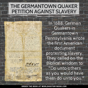 AMERICAN QUAKERS PETITION AGAINST SLAVERY